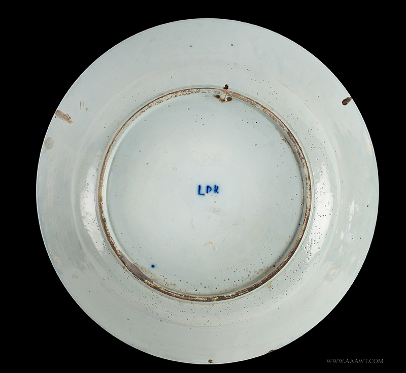 Delft Charger, Jacob and Esau, Blue and White Biblical Dishes, 18th Century, back view