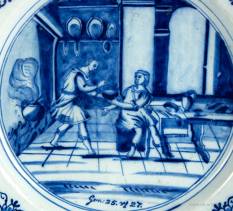 Delft Charger, Jacob and Esau, Blue and White Biblical Dishes, 18th Century, image detail
