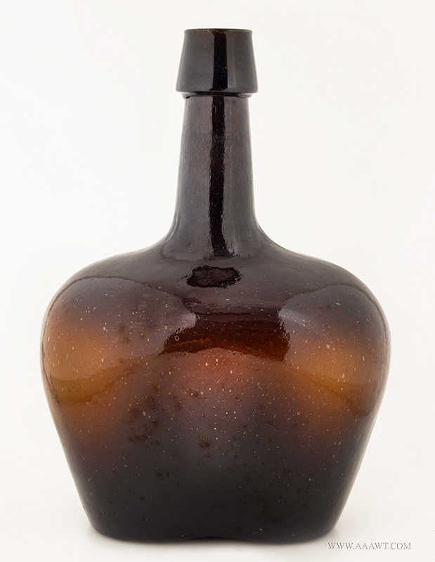Mini Demijohn, Flattened, Mold Blown, Dark Amber, 19th Century Squat Demijohn, Light Green Amber, Large Pontil Scar, Nice Color Applied tapered collar mouth, entire view