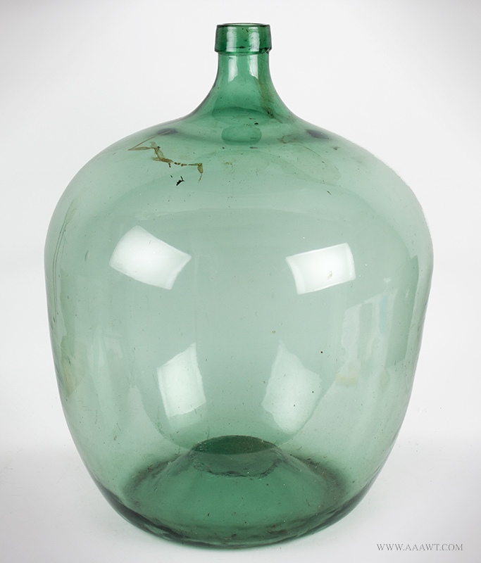 Very Large Apple Green Demijohn European, second half of 19th century, angle view