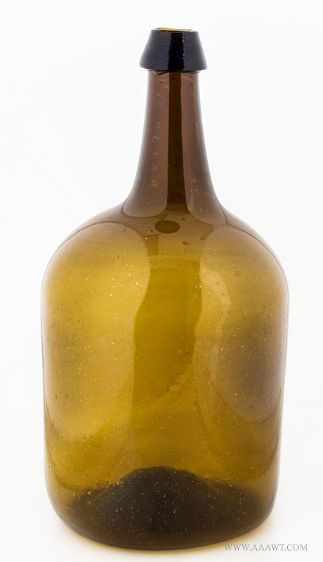 Storage Bottle, Cylindrical, Mold Blown, Olive Amber New England, Second Half 19th Century Squat Demijohn, Light Green Amber, Large English Type Basal, Pontil Scar, Nice Color Applied tapered collar mouth, entire view