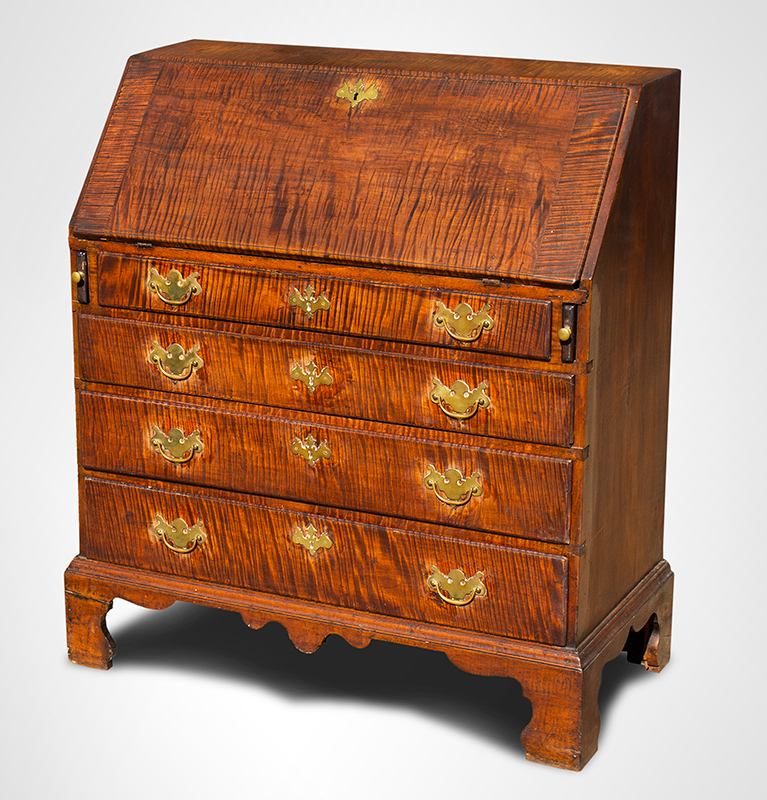 "Queen Anne Slant-Lid Desk, Bold Tiger Maple, Outstanding Surface, 36.25"" Wide Rhode Island, circa 1755-1765 Figured maple and chestnut, entire view 1"