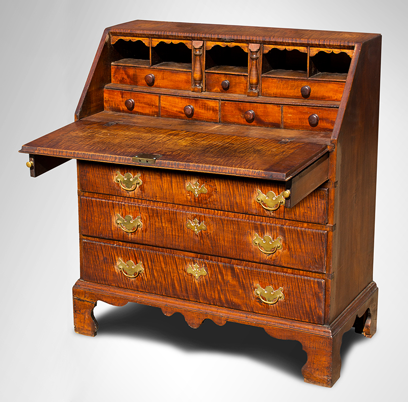 "Queen Anne Slant-Lid Desk, Bold Tiger Maple, Outstanding Surface, 36.25"" Wide Rhode Island, circa 1755-1765 Figured maple and chestnut, entire view 2"