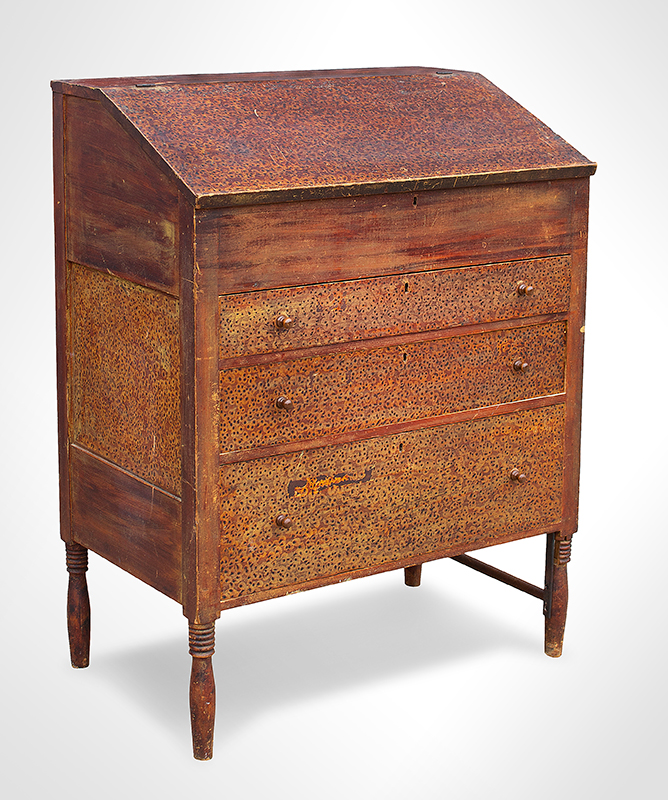 19th Century Vermont Paint Decorated Standup Desk, Original Condition Circa 1825 Maple, basswood, and white pine, entire view 2