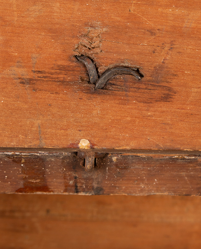 Antique Slant-Top Desk Box, Original Painted Surface, Faux Grained, Dry Patina New England, Circa 1750-1800, detail view 2
