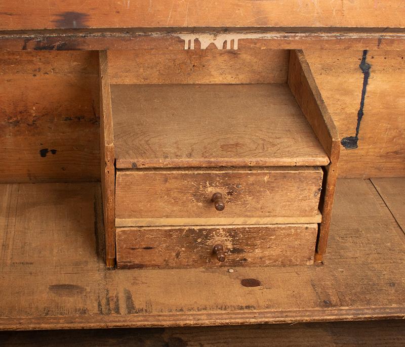 Antique Slant-Top Desk Box, Original Painted Surface, Faux Grained, Dry Patina New England, Circa 1750-1800, detail view 3