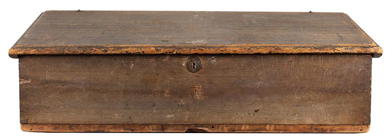 Antique Slant-Top Desk Box, Original Painted Surface, Faux Grained, Dry Patina New England, Circa 1750-1800, entire view 1