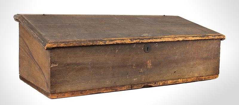 Antique Slant-Top Desk Box, Original Painted Surface, Faux Grained, Dry Patina New England, Circa 1750-1800, enitre view 2