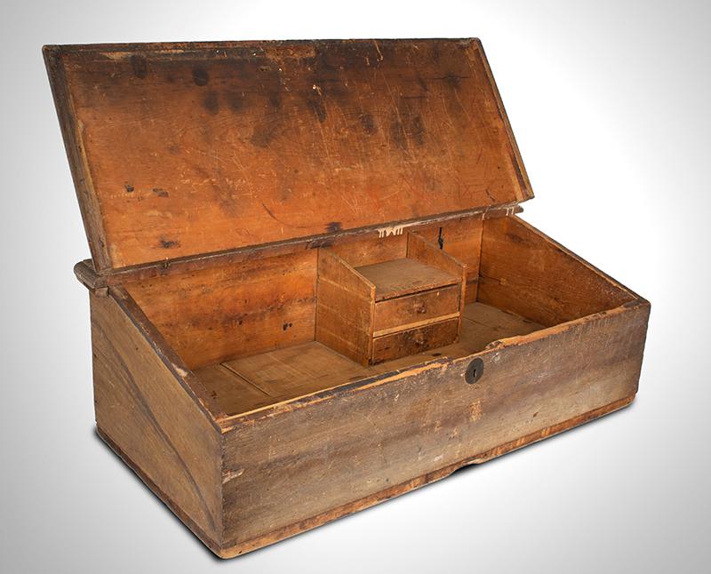 Antique Slant-Top Desk Box, Original Painted Surface, Faux Grained, Dry Patina New England, Circa 1750-1800, entire view 3