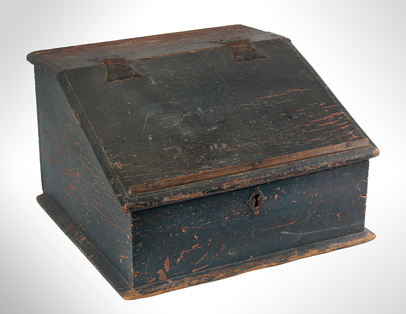 Tabletop Writing Desk Box, Sloped Lid, Original Surface History New England, Nantucket History, circa 1700-1730 Pine, entire view 1