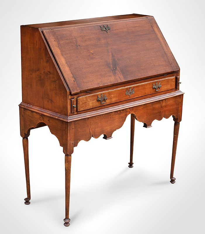 18th Century Slant-lid Desk on Frame, Queen Anne Coastal Southeastern New England, circa 1740-1750 Maple and white pine…outstanding apron and feet, entire view 1