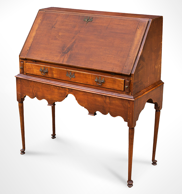 18th Century Slant-lid Desk on Frame, Queen Anne Coastal Southeastern New England, circa 1740-1750 Maple and white pine…outstanding apron and feet, entire view 2