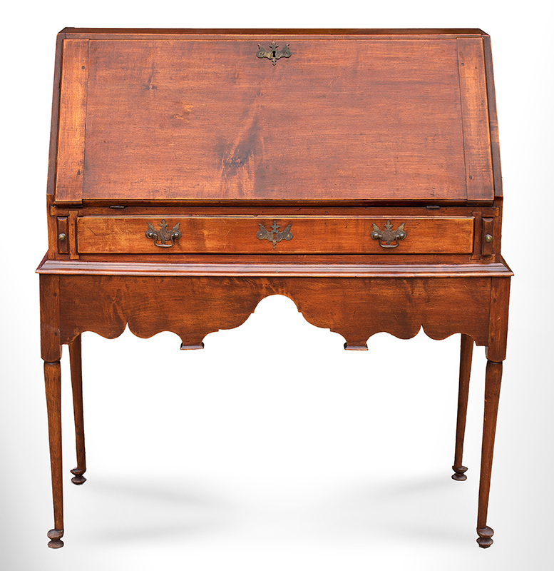 18th Century Slant-lid Desk on Frame, Queen Anne Coastal Southeastern New England, circa 1740-1750 Maple and white pine…outstanding apron and feet, entire view 3