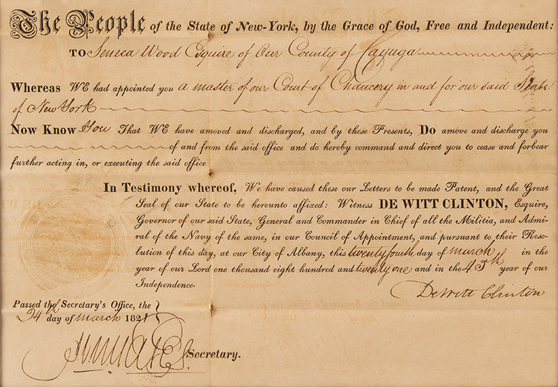 Nineteenth Century Commission, Master of Court of Chaucery, Signed by DeWitt Clinton, 1821 Discharge of Seneca Wood, Cayuga, New York, document detail