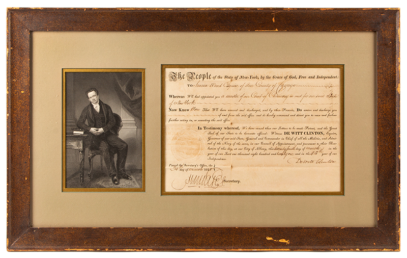 Nineteenth Century Commission, Master of Court of Chaucery, Signed by DeWitt Clinton, 1821 Discharge of Seneca Wood, Cayuga, New York, entire view