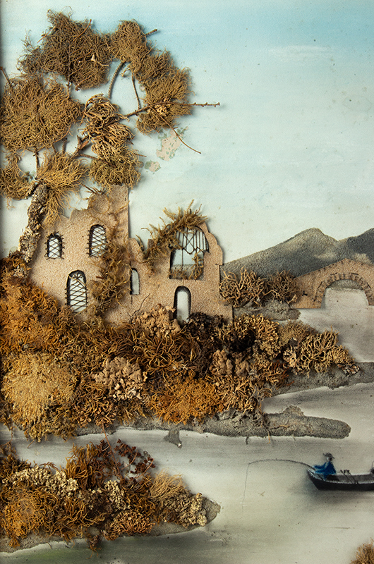 19th Century Marble Dust Painting, Raised Mixed Media Diorama Unknown Artist, detail view 2