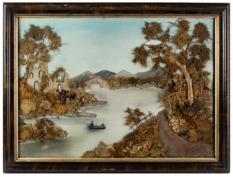 19th Century Marble Dust Painting, Raised Mixed Media Diorama Unknown Artist, entire view