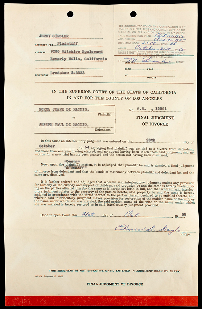 Marilyn Monroe  Final Judgment of Divorce Between Norma Jeanne Di Maggio and Joseph Paul Di Maggio
