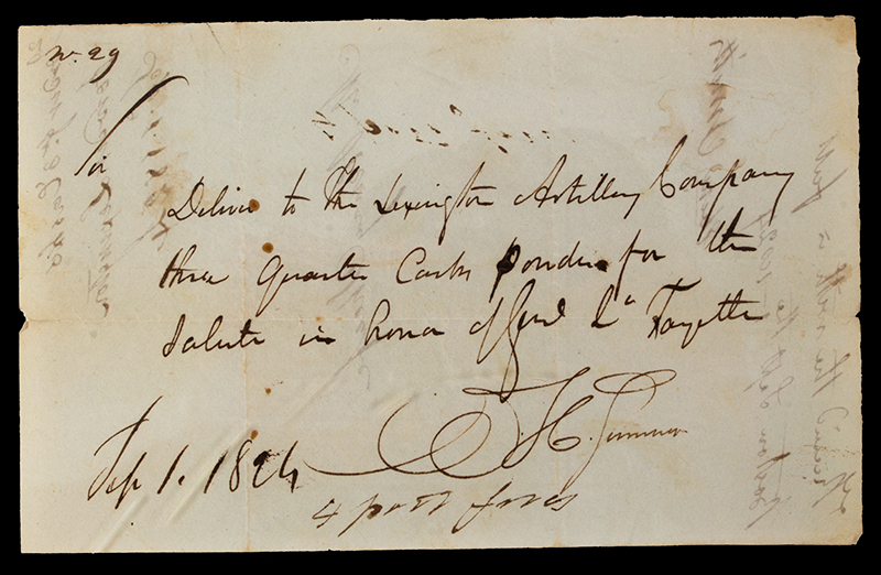 History, American Revolutionary War, Manuscript  Mss. Receipt, 3 Casks Powder for Salute to honor Gen'l LaFayette Sept 1, 1824, Lexington Artillery, side 2