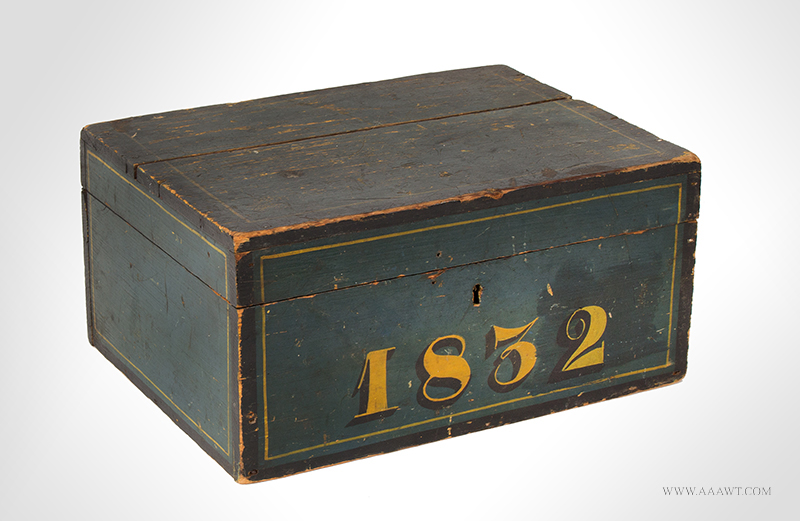 Document Box, Records Box, Painted, New England, 1832 Bluish green paint, black and yellow trim, lap joinery, entire view
