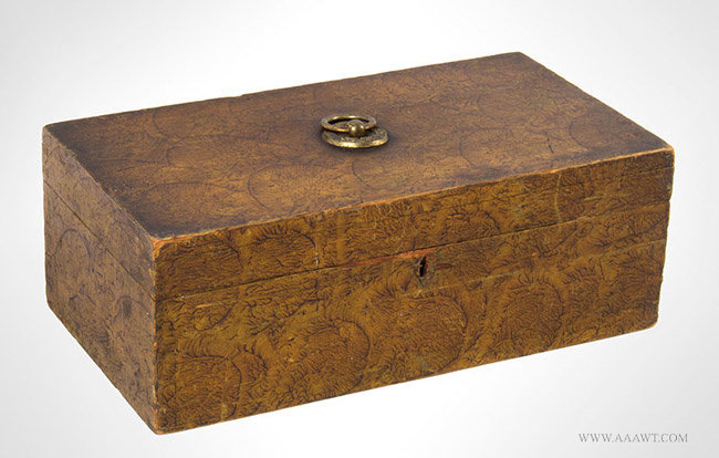 Document Box, Mustard and Brown Sponge Decoration