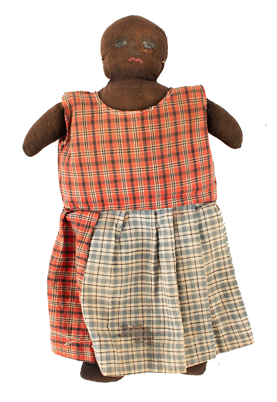 Vintage Black Doll, Painted Face, Linen Blend Stuffed with Loose Cotton Fiber Unknown Maker, Likely 1st Quarter of 20th Century, entire view