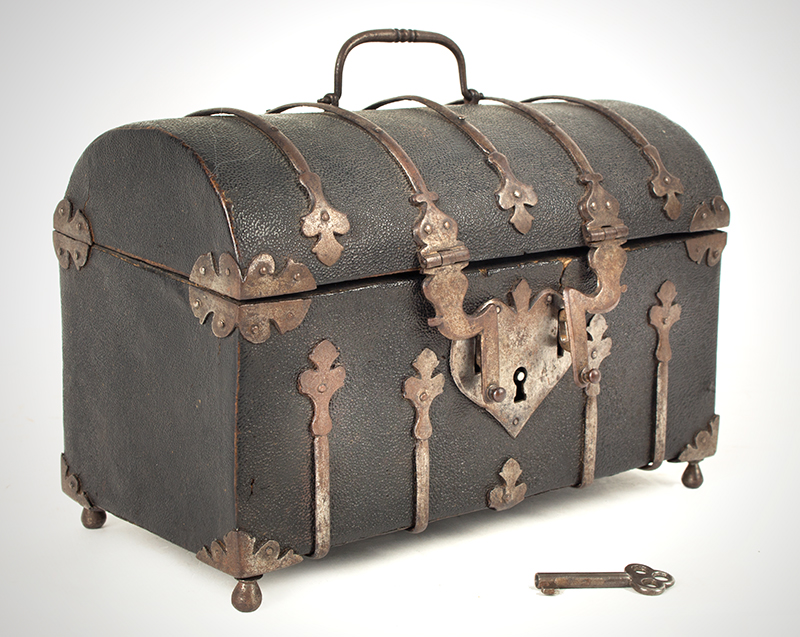Antique Domed Coffret, Sharkskin, Shagreen Covered Domed Casket, Ironbound French, circa 1700, angle view 1
