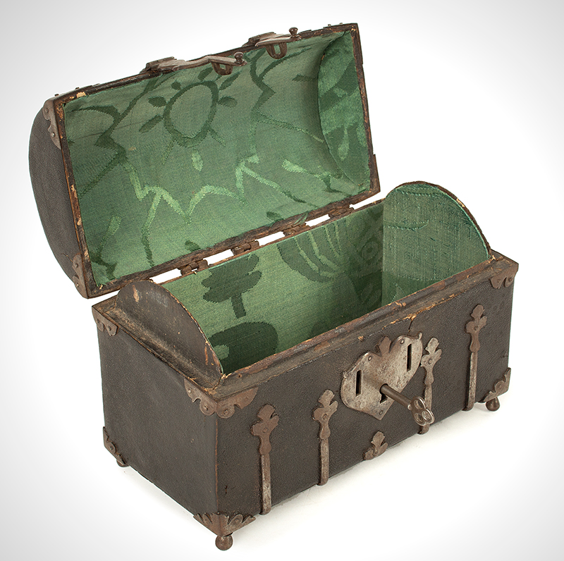 Antique Domed Coffret, Sharkskin, Shagreen Covered Domed Casket, Ironbound French, circa 1700, open view