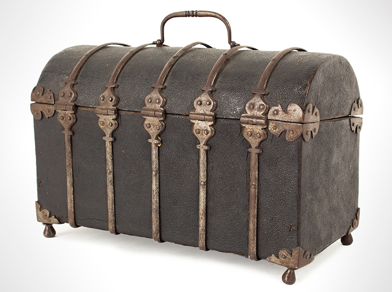 Antique Domed Coffret, Sharkskin, Shagreen Covered Domed Casket, Ironbound French, circa 1700, angle view 2