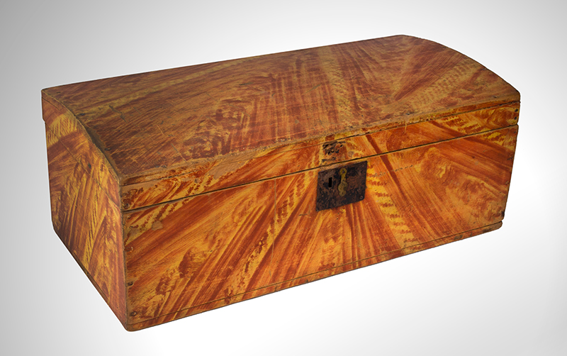 Paint Decorated Dome Top Trunk, Box, Original Paint Maine, circa 1820-1835 White pine, birch, and maple  It is all about the paint…, entire view 2