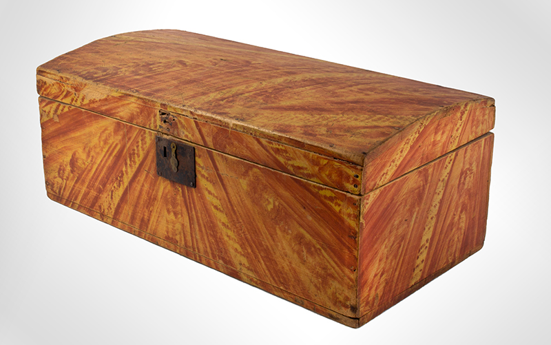 Paint Decorated Dome Top Trunk, Box, Original Paint Maine, circa 1820-1835 White pine, birch, and maple  It is all about the paint…, entire view 3
