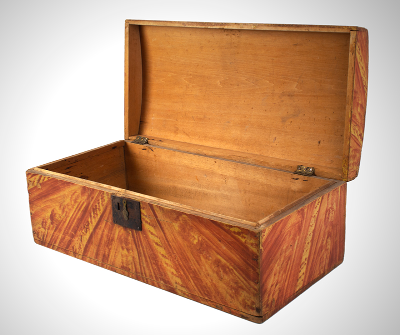 Paint Decorated Dome Top Trunk, Box, Original Paint Maine, circa 1820-1835 White pine, birch, and maple  It is all about the paint…, entire view 4