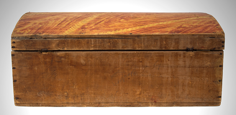 Paint Decorated Dome Top Trunk, Box, Original Paint Maine, circa 1820-1835 White pine, birch, and maple  It is all about the paint…, entire view 5