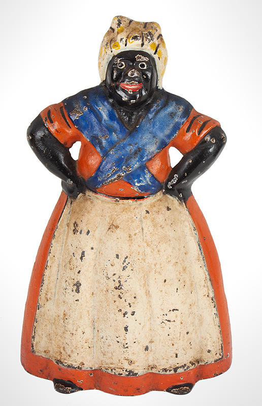 Antique Figural Doorstop, Large Aunt Jemima (Mammy), Hands on Hips, Good Paint Attributed to Hubley, circa 1890-1900 Original bright paint, entire view