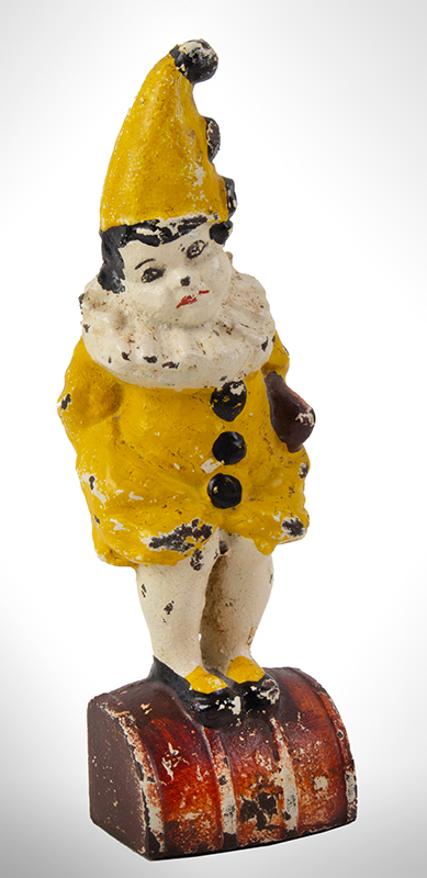 Doorstop, Little Girl on Barrel in Clown Outfit Cast on back of base: Eastern Specialty Mfg. Co., 63, entire view 1