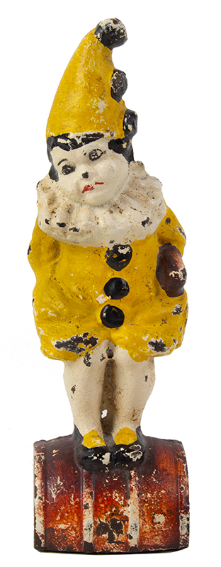 Doorstop, Little Girl on Barrel in Clown Outfit Cast on back of base: Eastern Specialty Mfg. Co., 63, entire view 2