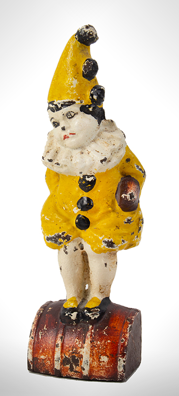 Doorstop, Little Girl on Barrel in Clown Outfit Cast on back of base: Eastern Specialty Mfg. Co., 63, entire view 3