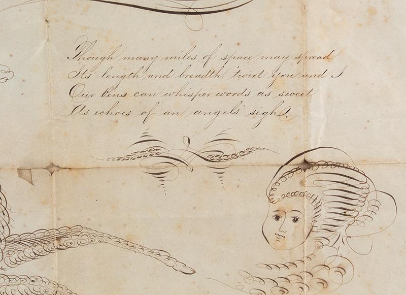 Spencerian Drawings on Single Sheet, Love Token to Cousin Mollie Flourished by J.W. Swank, Washington, D.C.  19th Century Nil desperandum [do not despair, never despair], detail view 2