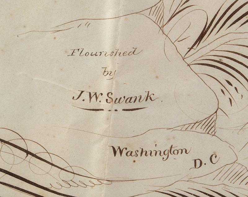 Spencerian Drawings on Single Sheet, Love Token to Cousin Mollie Flourished by J.W. Swank, Washington, D.C.  19th Century Nil desperandum [do not despair, never despair], detail view 3