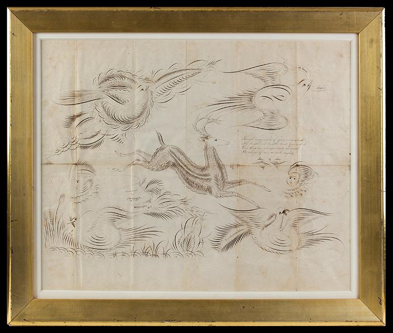Spencerian Drawings on Single Sheet, Love Token to Cousin Mollie Flourished by J.W. Swank, Washington, D.C.  19th Century Nil desperandum [do not despair, never despair], entire view