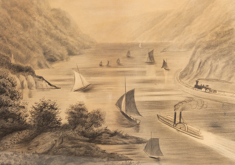 Antique Drawing, High Angle View of the Hudson River from West Point Academy  Unknown Artist, 19th Century…Grisaille [graphite drawing], detail view 1