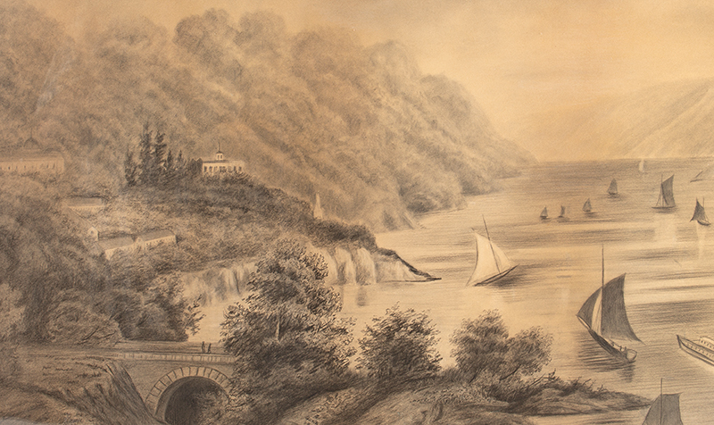 Antique Drawing, High Angle View of the Hudson River from West Point Academy  Unknown Artist, 19th Century…Grisaille [graphite drawing], detail view 2