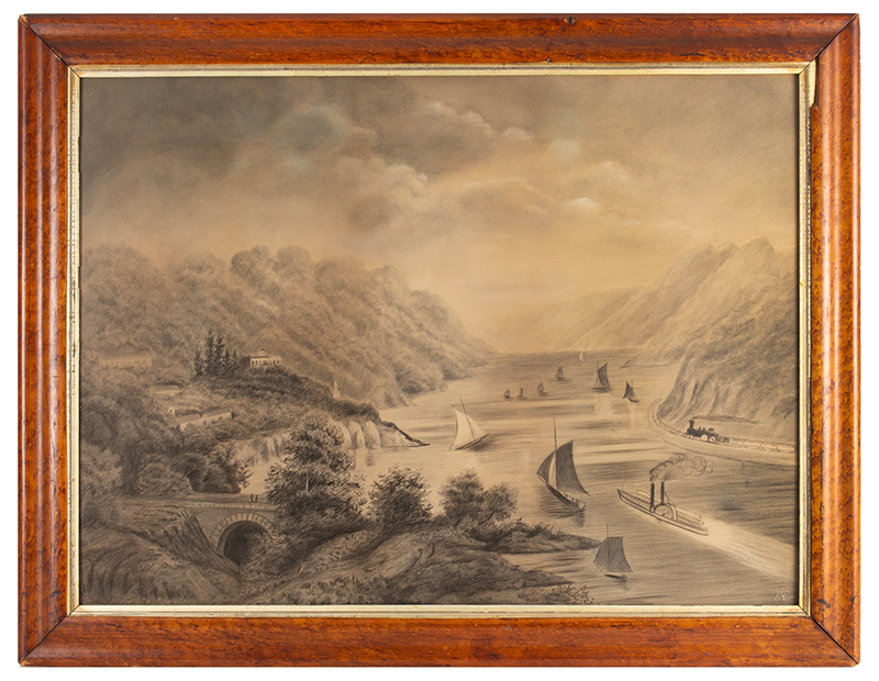 Antique Drawing, High Angle View of the Hudson River from West Point Academy  Unknown Artist, 19th Century…Grisaille [graphite drawing], entire view