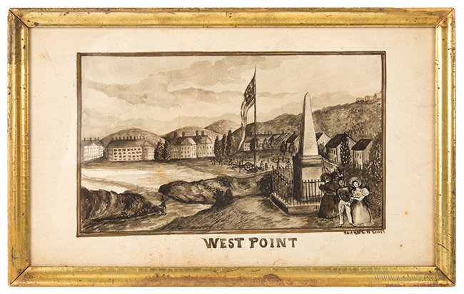 West Point Drawing, Pen and Ink, Visual Certified, Museum Mounted