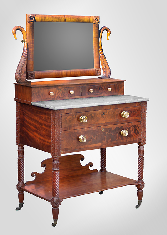 Antique Sheraton Dressing Bureau, Marble Top, Carved Swan Neck Mirror                Likely New York State, Perhaps Albany Area, Circa 1825 Outstanding mahogany, mahogany veneer, poplar and white pine, entire view