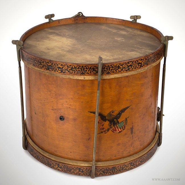 "Antique Rod Tension Snare Drum, Labeled by Henry Eisele, 13.25"" by 17""