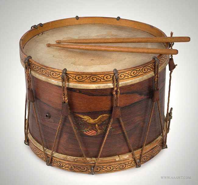 "Antique Rope Tension Snare Drum, Labeled by Henry Eisele, 12.5"" by 17""