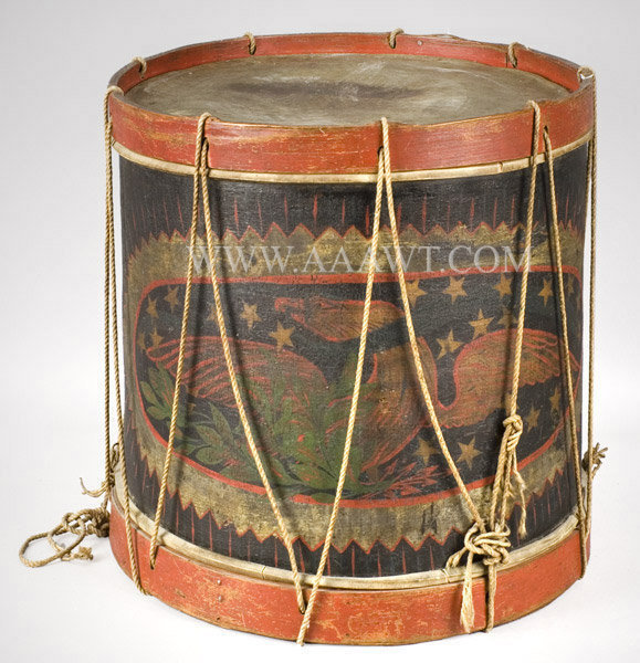 Antique Vermont Militia Snare Drum with Original Painted Eagle, Circa 1825, angle view