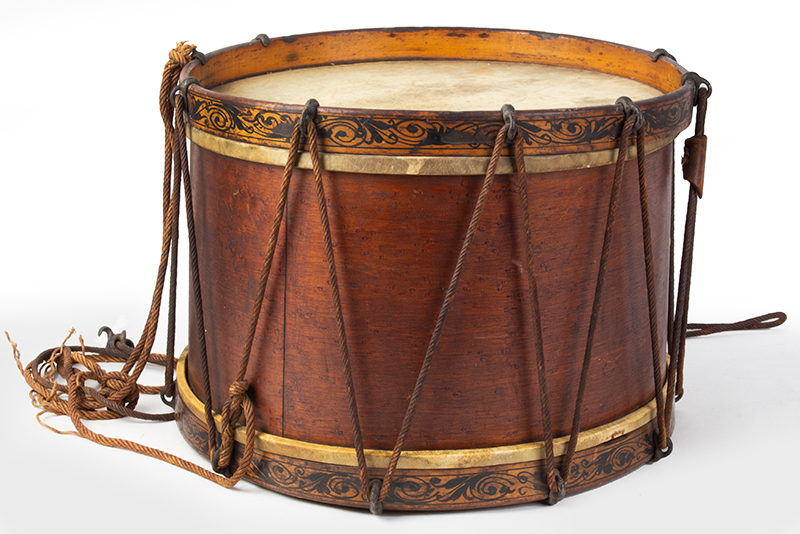 Civil War Era Antique Rope Tension Snare Drum Attributed to Henry Eisele or William Sempf, New York, entire view