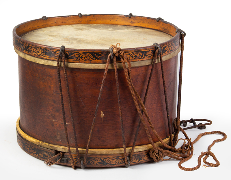 Civil War Era Antique Rope Tension Snare Drum Attributed to Henry Eisele or William Sempf, New York, entire view 2